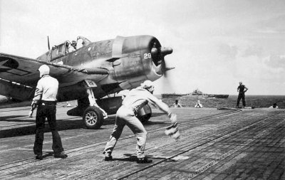 Hellcat about to launch from USS Lexington